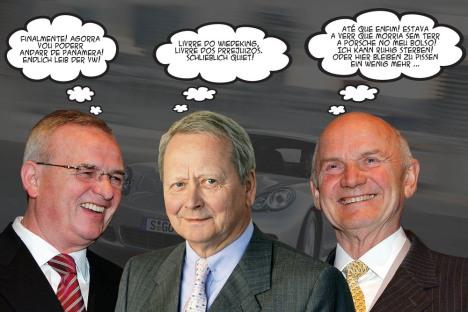 Martin Winterkorn, CEO da VW, Wolfgang Porsche, Presdidente da Porsche SE e Ferdinand Piech, Presdiente do grupo VW